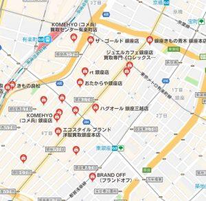 銀座のリサイクル店の地図