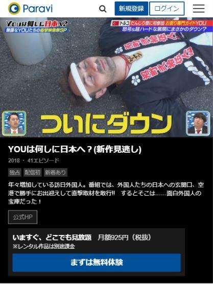 paraviでYOUは何しに日本へ?の見逃し動画が配信されている